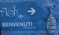 Welcome poster at the entry of Slow Fish 2011 in Genoa, 27-30 May 2011