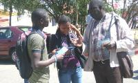 Discussion with students at the WSF 2011 in Dakar